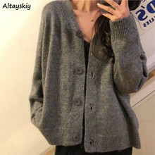 Cárdigan informal Ulzzang para mujer, suéteres elegantes con una hilera de botones, cuello en V, color gris sólido, Chic, básico, de punto con cremallera