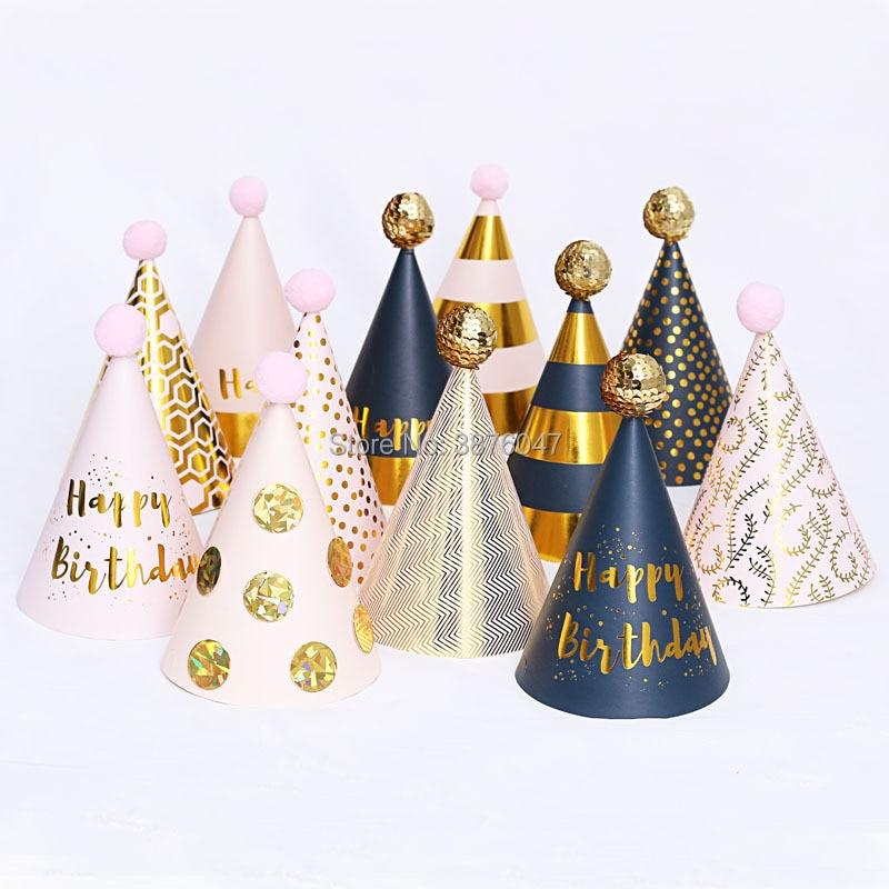 Chapeaux danniversaire pour enfants et filles | Décorations roses noires pour fête danniversaire, chapeau en papier pour joyeux anniversaire, couronne de princesse prince