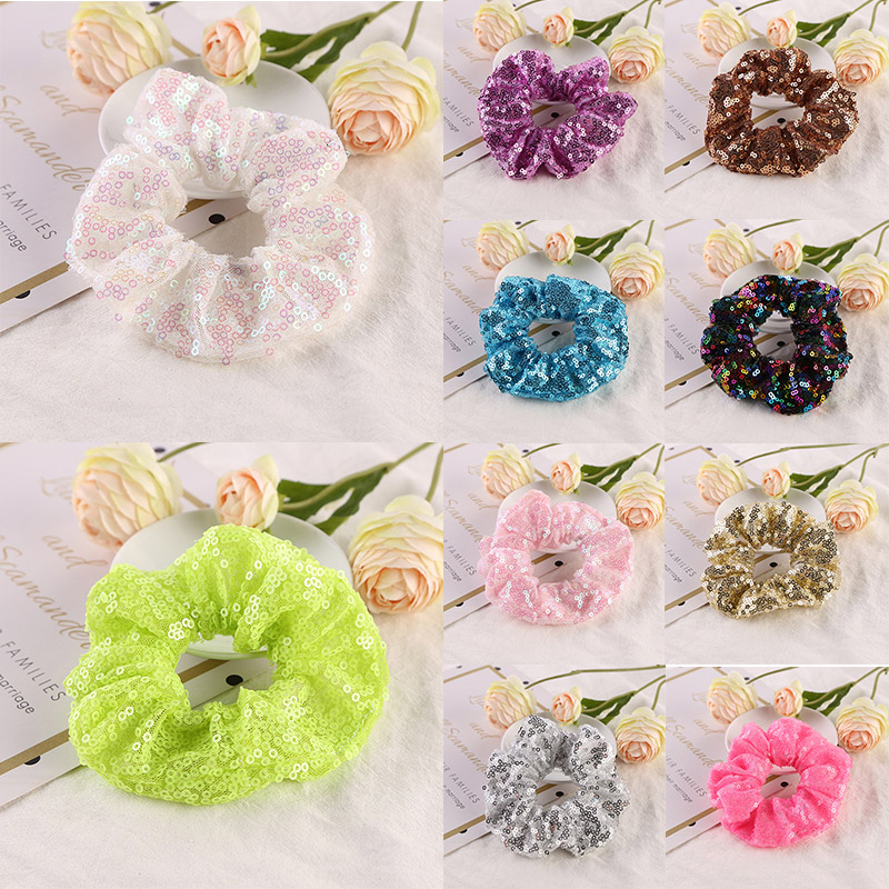 Fashion Sequin Women Scrunchie Glitter Hair Ties Girls Headwear Ponytail Holders Rope Elastic Hair Bands Hair Accessories