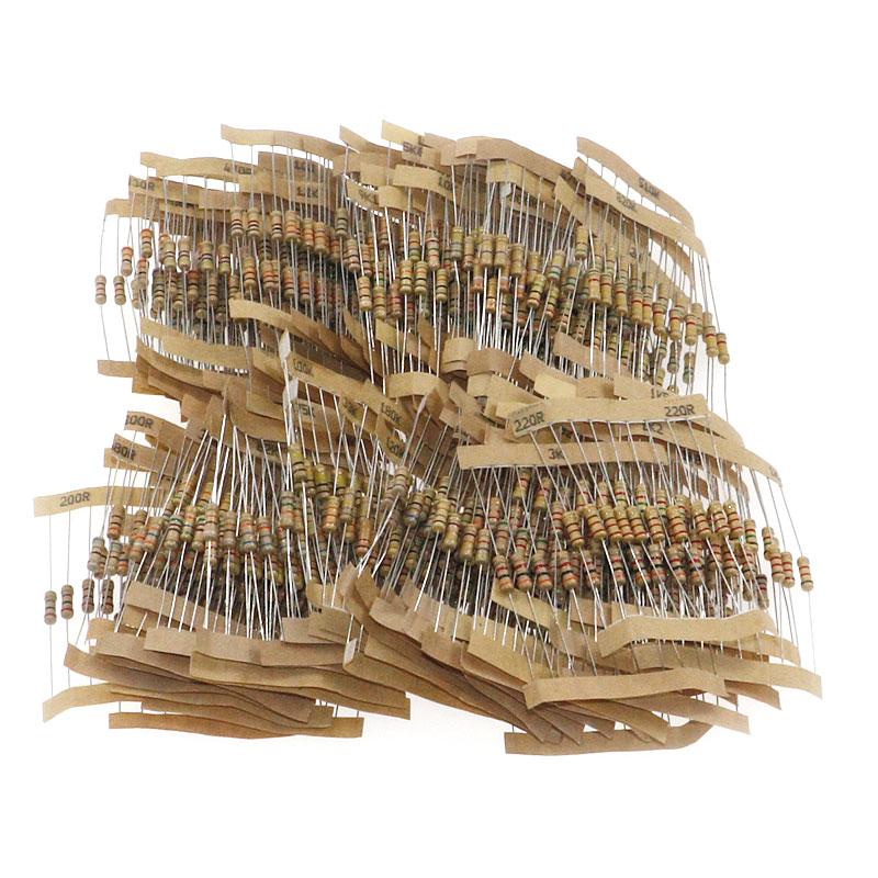 1000 pçs/lote 100 valores x 10 pçs 5% 1/2w 1ohm -10mohm filme de carbono resistor sortido kit componente eletrônico