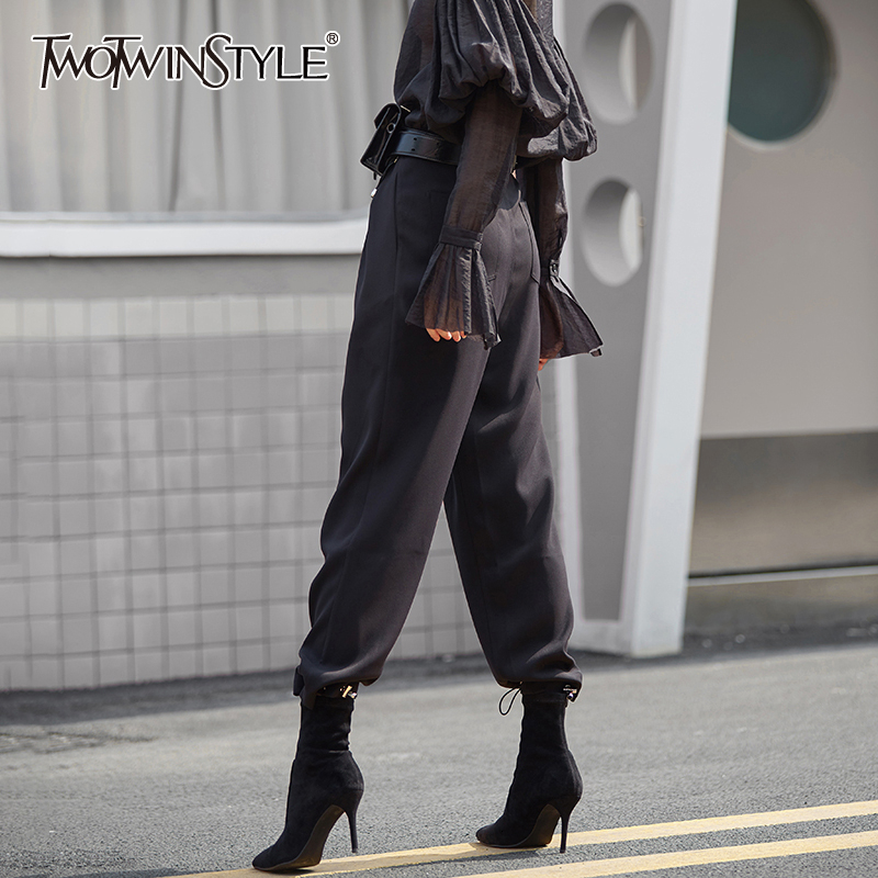 TWOTWINSTYLE Casual Drawstring Harem Pants For Female High Waist Ruched Tunic Autumn Winter Women's Pants Fashion 2020 Clothing