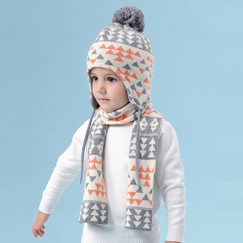 Hat Scarf Set Kid Boy Winter Fleece Beanie Warm Head Skiing Outdoor Accessory For Baby
