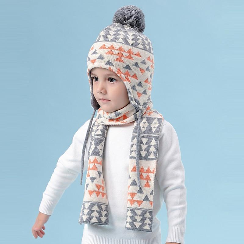 Hat Scarf Set Kid Boy Winter Fleece Beanie Warm Head Skiing Outdoor Accessory For Baby