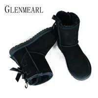 Echtes Leder Stiefeletten Für Frauen Winter Warme Stiefel Marke Weibliche Schuhe Lace Up Frauen Schuhe Stiefel Casual Schuhe DE