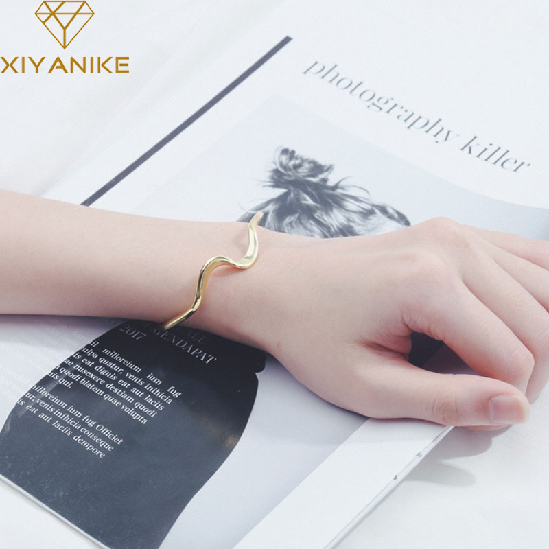 XIYANIKE Minimalist 925 Sterling Silver Couples Cuff Bracelet Creative Wave Design Bangles Party Jewelry For Women Couples Gifts