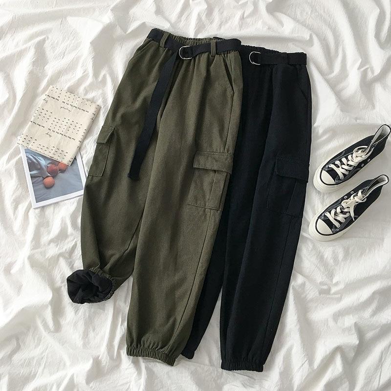 Thickening Safari Style Long Pant Women Harajuku Casual High Waist Loose Pants Trouser Female Streetwear Green Black Bottom