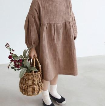 Casual  linen spring and autumn girl's long sleeve long-sleeved princess dress children dress girls