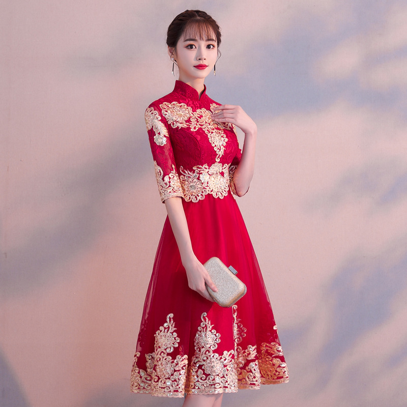 Stylish Sexy  Lace Mesh Flower Wedding Dress Evening Dress Chinese Wedding Toast Dress Improved Qipao Vestidos Size S-XXL thumbnail
