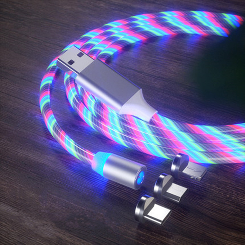 <font><b>3</b></font> <font><b>in</b></font> <font><b>1</b></font> Magnetic charging Mobile Phone <font><b>Cable</b></font> Flow Luminous Lighting cord charger Wire for iphone Samaung LED Micro USB Type C image