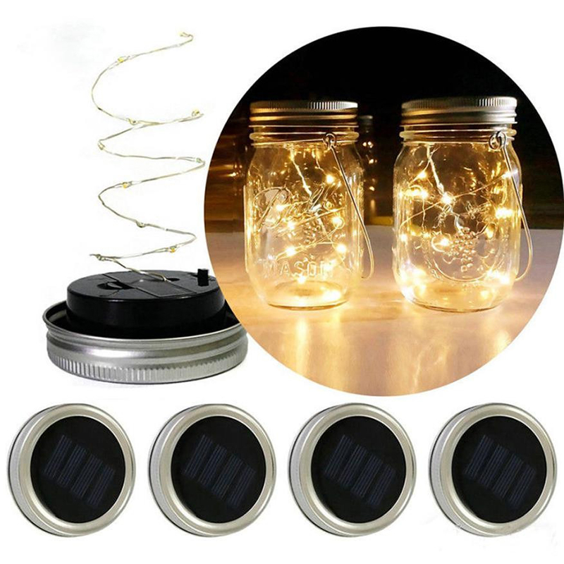 Solar Led String Light Mason Jar Lid Insert Waterproof Fairy Lighting Multi-Color Changing Bedroom Garden Holiday Decoration