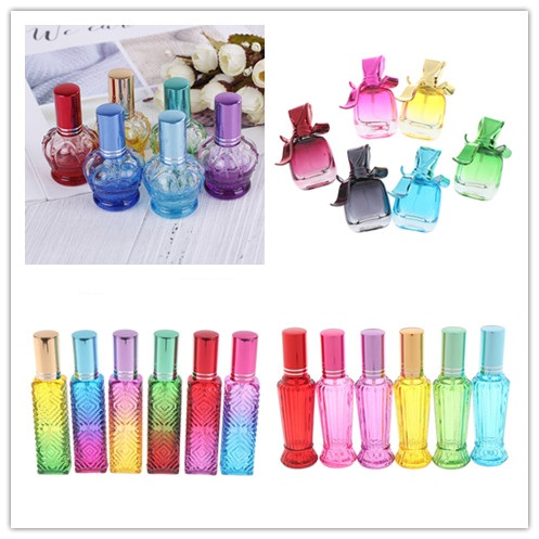 15ml 5 Styles Reusable Perfume Atomizer Liquid Dispenser Fine Mist Spray Glass Bottle Travel Refillable Cosmetics Empty Bottle