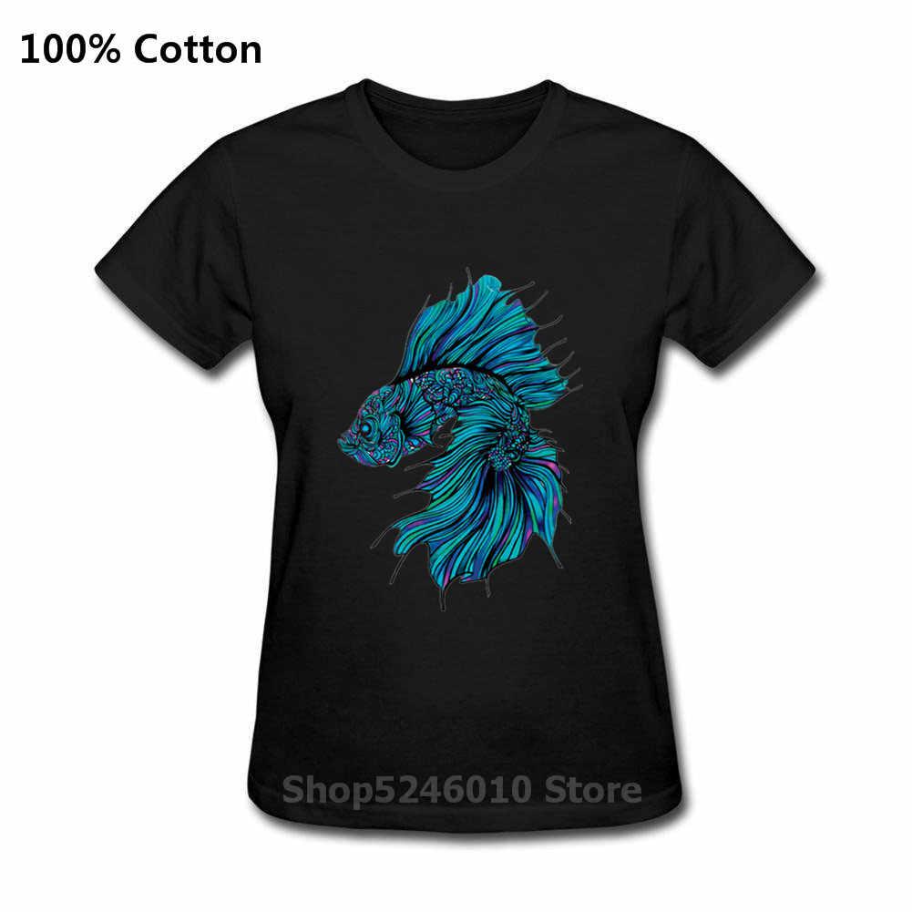 Divertente Regali Di Compleanno Presente Madre Fishinger T-Shirt 3D MARE BLU di COMBATTIMENTO DEI PESCI Stampato T Shirt Donne Pantaloni A Vita Bassa Tshirt Streetwear