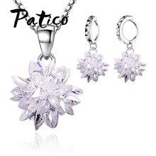 New Design Elegant Women 925 Sterling Silver Ice Flower Pendant Necklace Sets White Cubic Zircon Crystal Earrings Jewelry elegant crystal zircon pendant necklace silver white red
