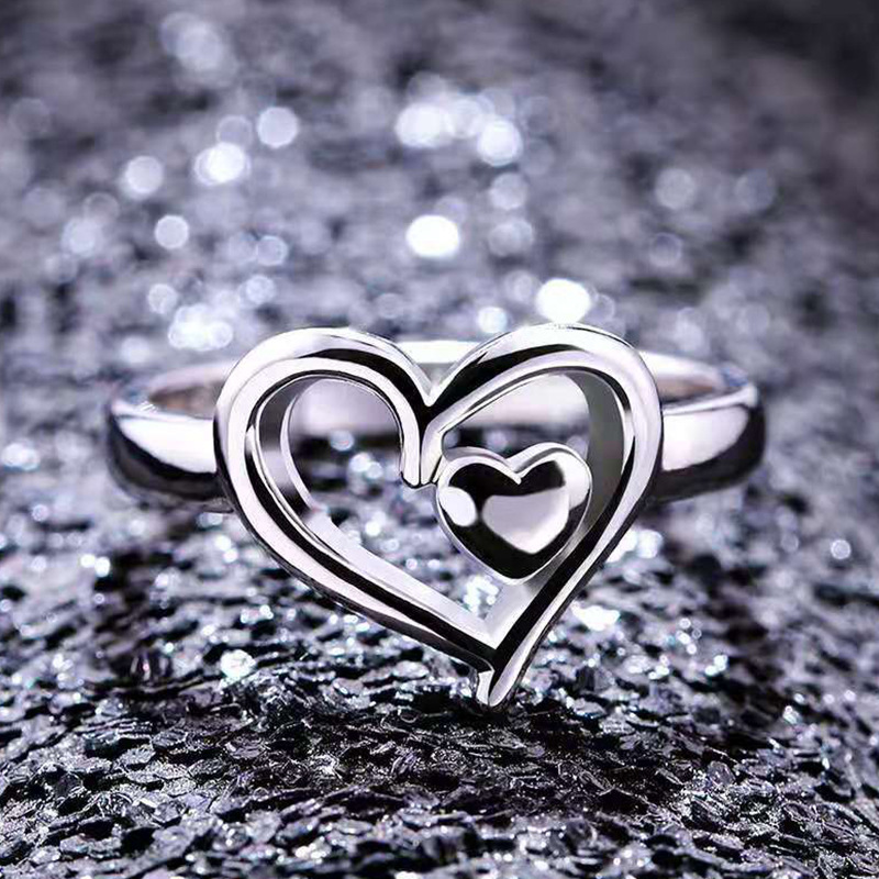 Plated Silver Double Heart Finger Heart Ring 2019 New Design Ring For Women Bridal Promise Wedding Ring