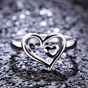 Plated Silver Double Heart Fin