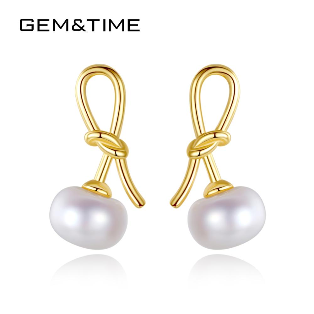Gem&Time Cute Freashwater Pearls Bow-knot Stud Earrings Sterling 925 Silver Earrings For Womne Trendy Pendientes Jewelry FE0283(China)