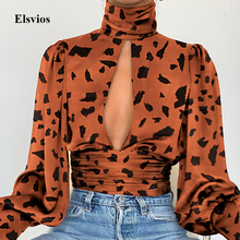Leopard Turtleneck Satin Silk Women Blouse Sexy Hollow Out B