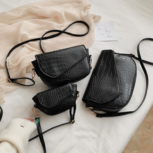 PU Leather Women Crossbody PurseSolid Black Shoulder Messenger Handbags Vintage Small Chain Shoulder Purse