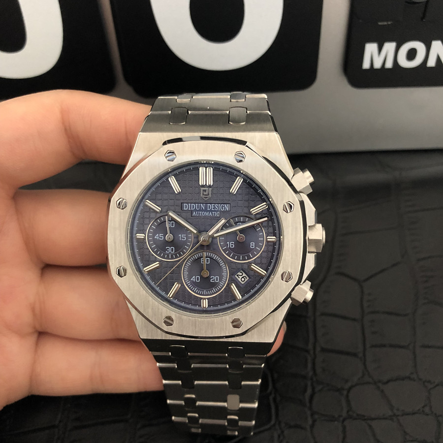 Chronograph Watch Business Steel Waterproof Luxury Quartz 30M Men title=
