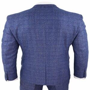 Image 4 - 2020ブルーメンズスーツ3ピースツイードチェック男性スーツ懐中時計テーラードフィットpeaky blinders terno masculino