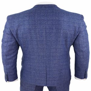 Image 4 - 2020 Blue Mens Suits 3 Piece Tweed Check Men Suit Pocket Watch Tailored Fit Peaky Blinders Terno Masculino