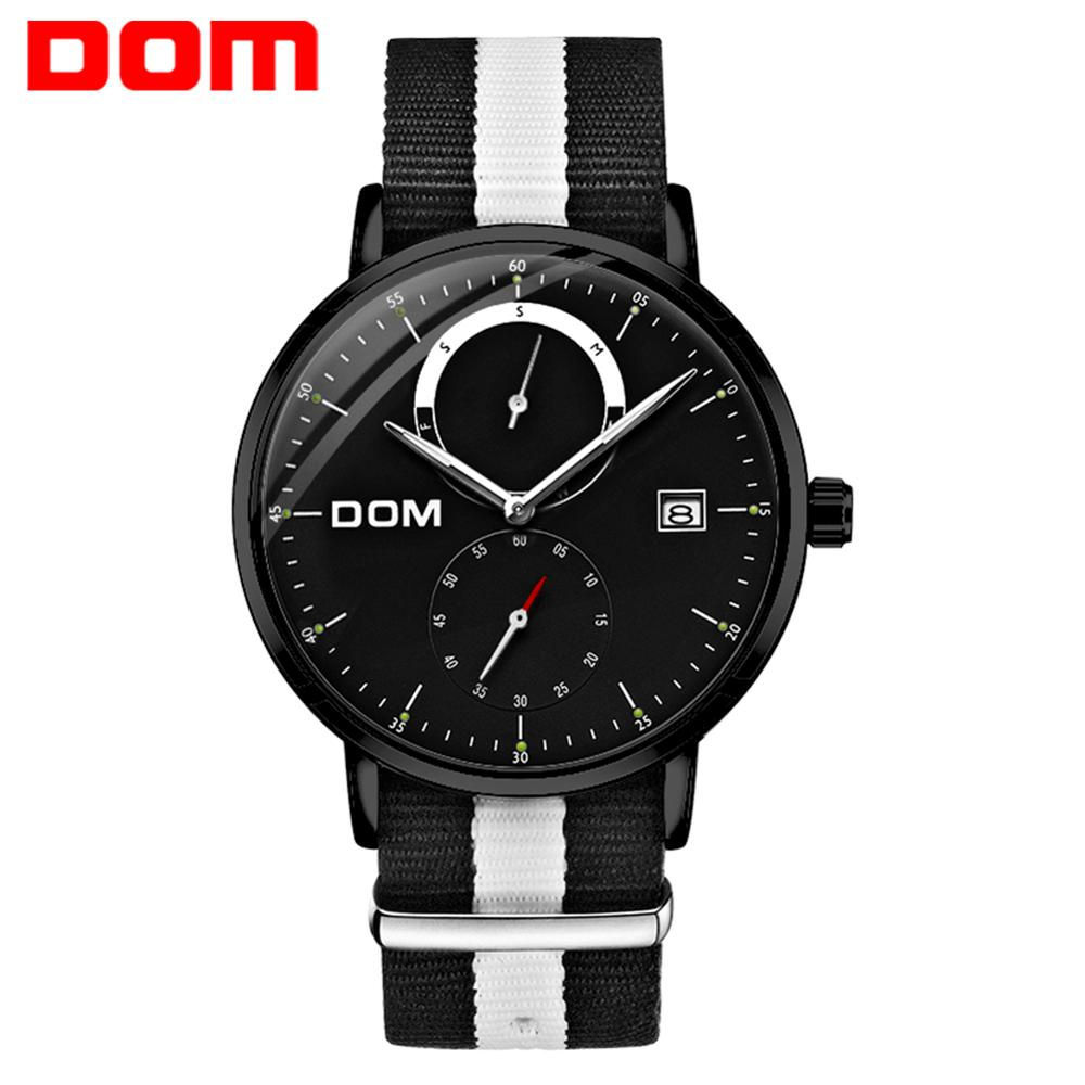 DOM Men Watches Luxury Brand Multi Function Mens Sport Quartz Watch Waterproof Steel Belt Business Clock Wrist Watch M-436BL-1M