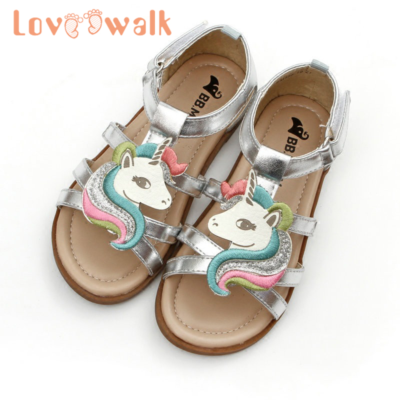 Kids Unicorn Sandals Summer Cartoon Sandals For Girls Embroidery Breathable Open-toed Beach Jelly Shoes Korea Style Little Girls