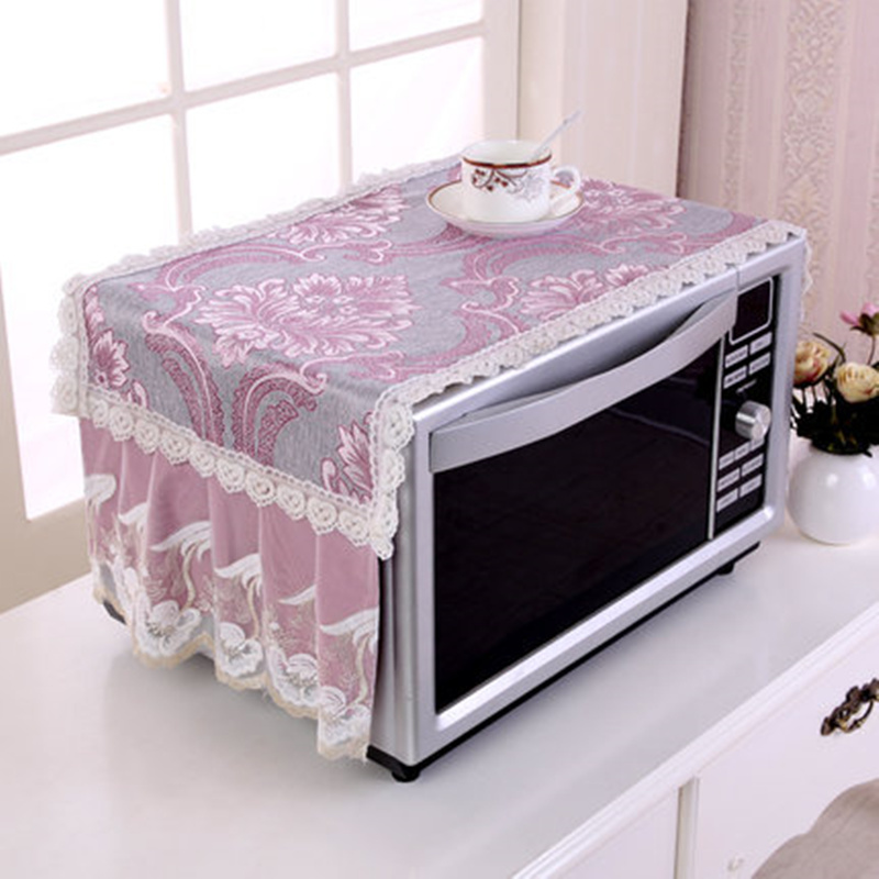 Anti-oil Plaid Dustproof Oven Covers Microwave Cover With Storage Bag Pastoral Cotton Cloth Decal For Kitchen Home Decor