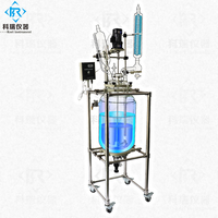 CE Approved  chemical 20L Lab Jacketed Glass Reactor\/ Double layer glass reactor \/glass reactor vacuum  system heating cooling