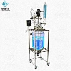 PTFE уплотнительный стеклянный реактор с конденсатором вакуумный пиролиз 5л лабораторное использование биореактор