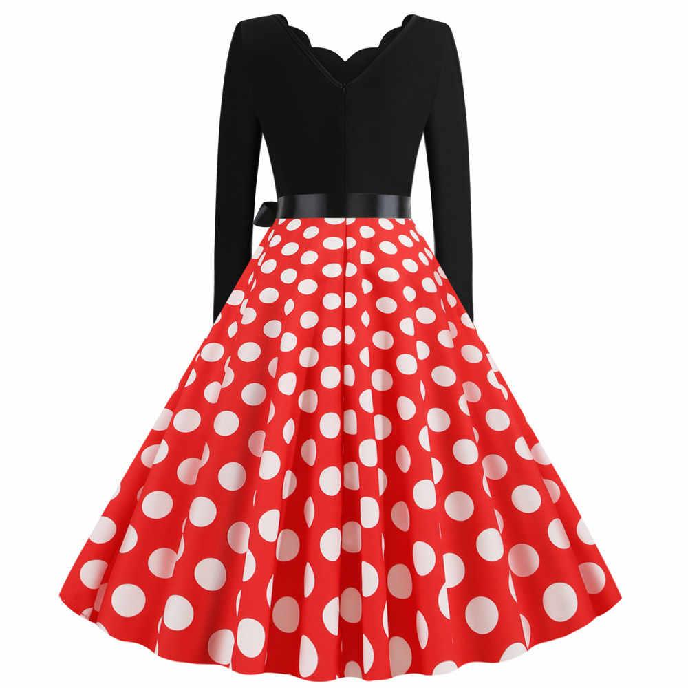 Merah Putih Polka Dot Wanita Musim Semi Musim Panas Gaun 2020 Jubah Vintage Kotak-kotak Cetak Rockabilly Pin Up Gaun Pesta Lutut panjang Gothic