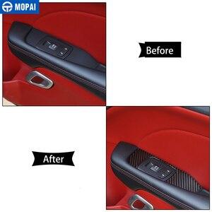 Image 4 - MOPAI רכב מדבקות עבור המתמודד 2015 + סיבי פחמן רכב חלון כפתור קישוט כיסוי אביזרי עבור דודג צ לנג ר 2015 +