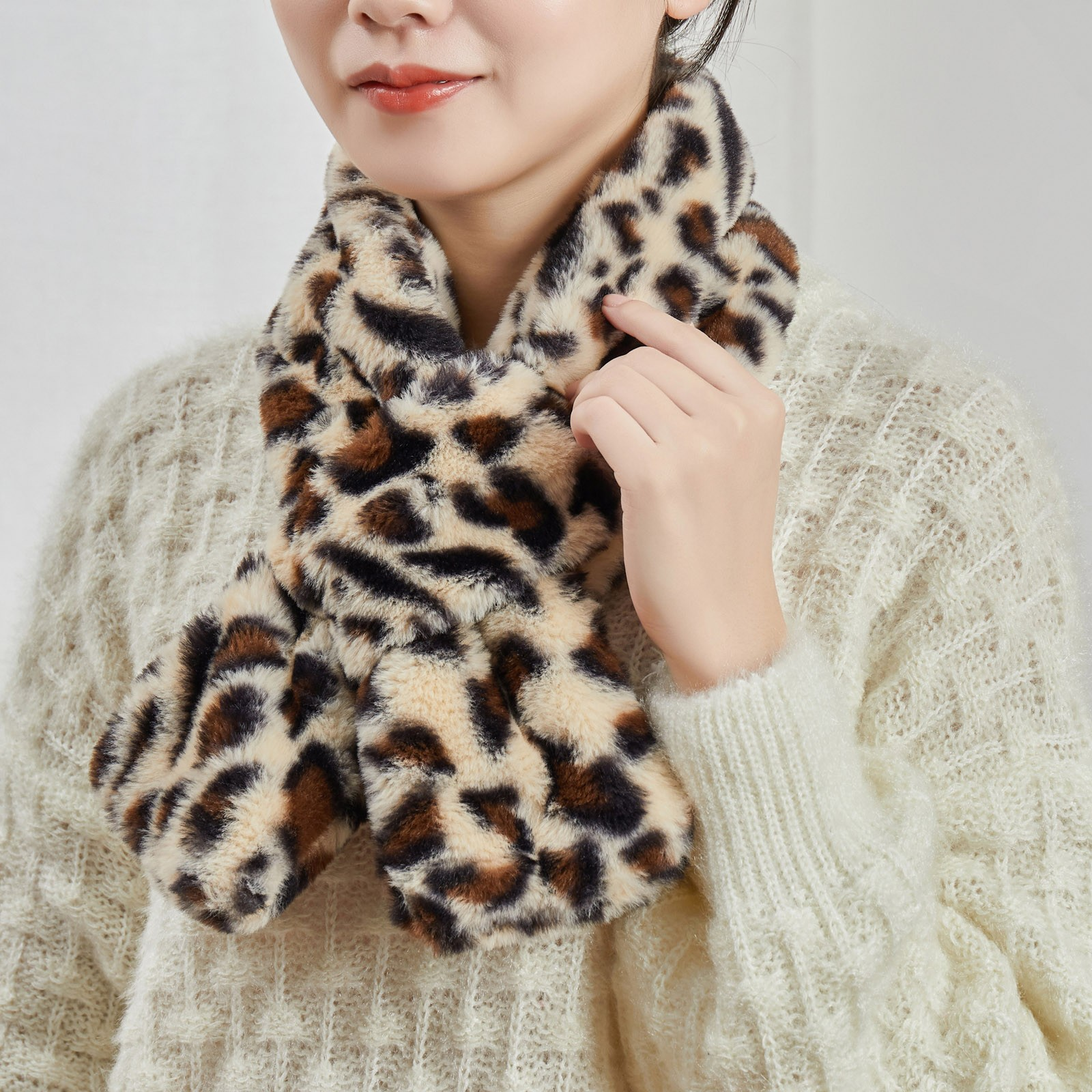Winter Heating Warm Floral Print Neck Protection Scarf Female Electric Protective Shoulder Waterproof Шарфы Женские #T2G