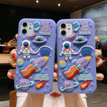 Cute Cartoon 3D Space Astronaut Case For iPhone 11 Pro Max XS X XR 7 8 Plus SE 2 2020 Soft Silicone Cover Dream Moon Phone Cases