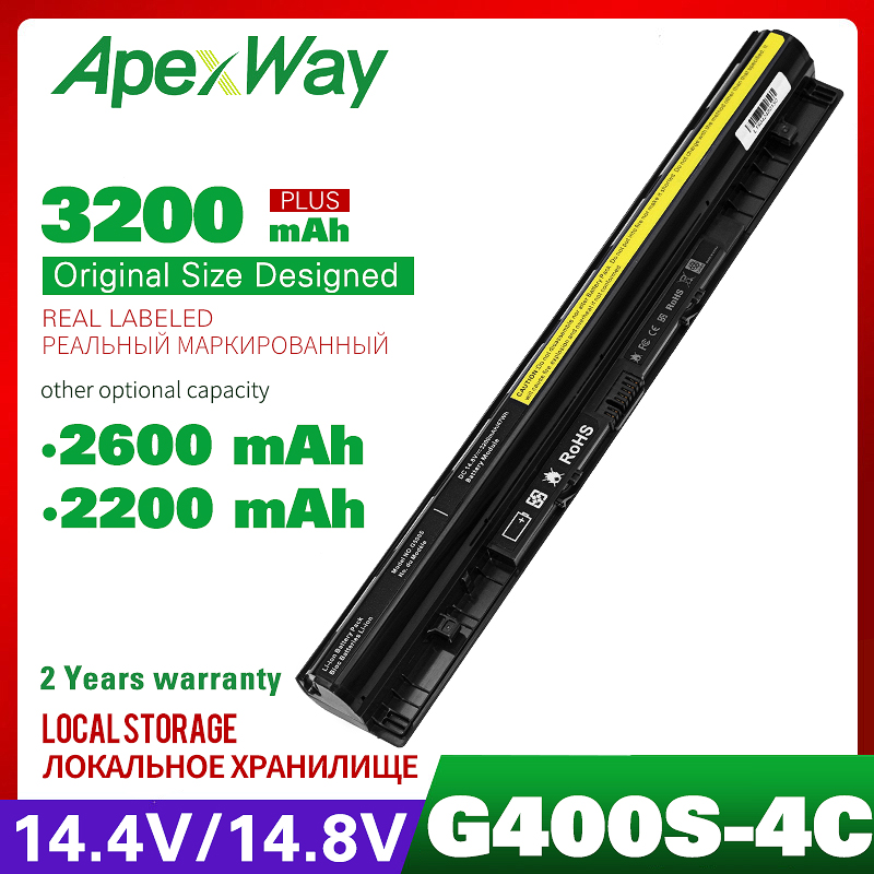 4 Cell 14.8v 2200mAh Laptop Battery For Lenovo Z710  G400s G500s G510s G505s S410p L12L4E01 L12M4E01 L12L4A02 L12M4A02