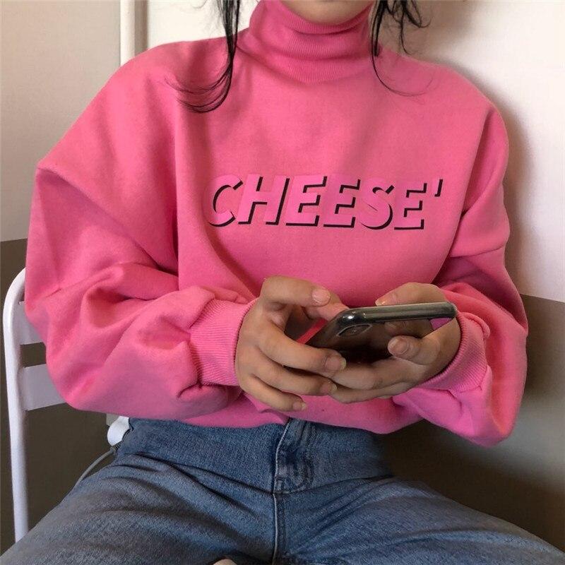 Шикарные розовые Свободные толстовки с буквенным принтом для