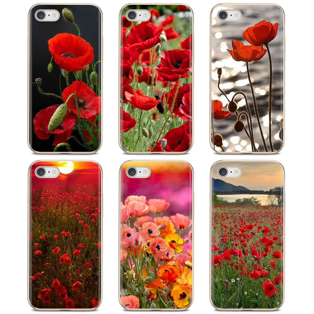 For Samsung Galaxy A10 A30 A40 A50 A60 A70 S6 Active Note 10 Plus Edge M30 Red Poppies cornflowers Print Buy Silicone Phone Case(China)