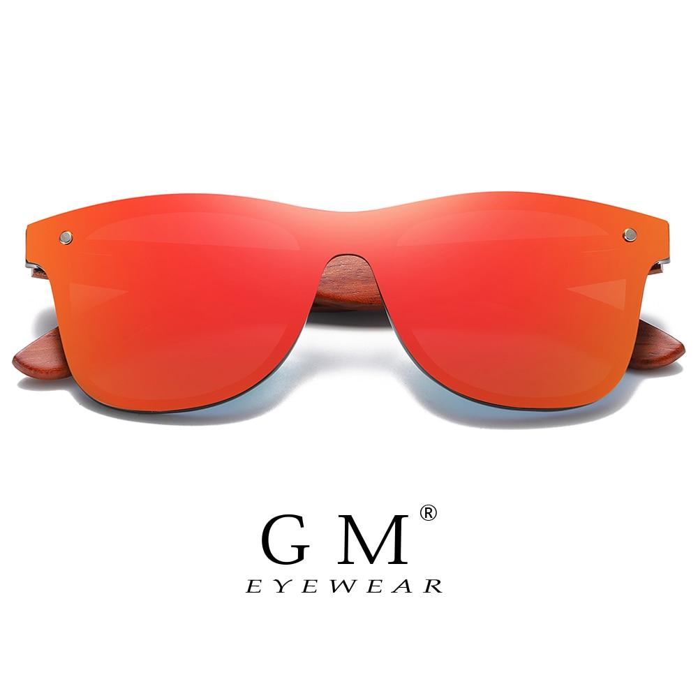 GM Red Wood Rimless Polarized Men Sunglasses Square Frame Sun Glasses Women Sun Glasses Male Oculos De Sol Masculino