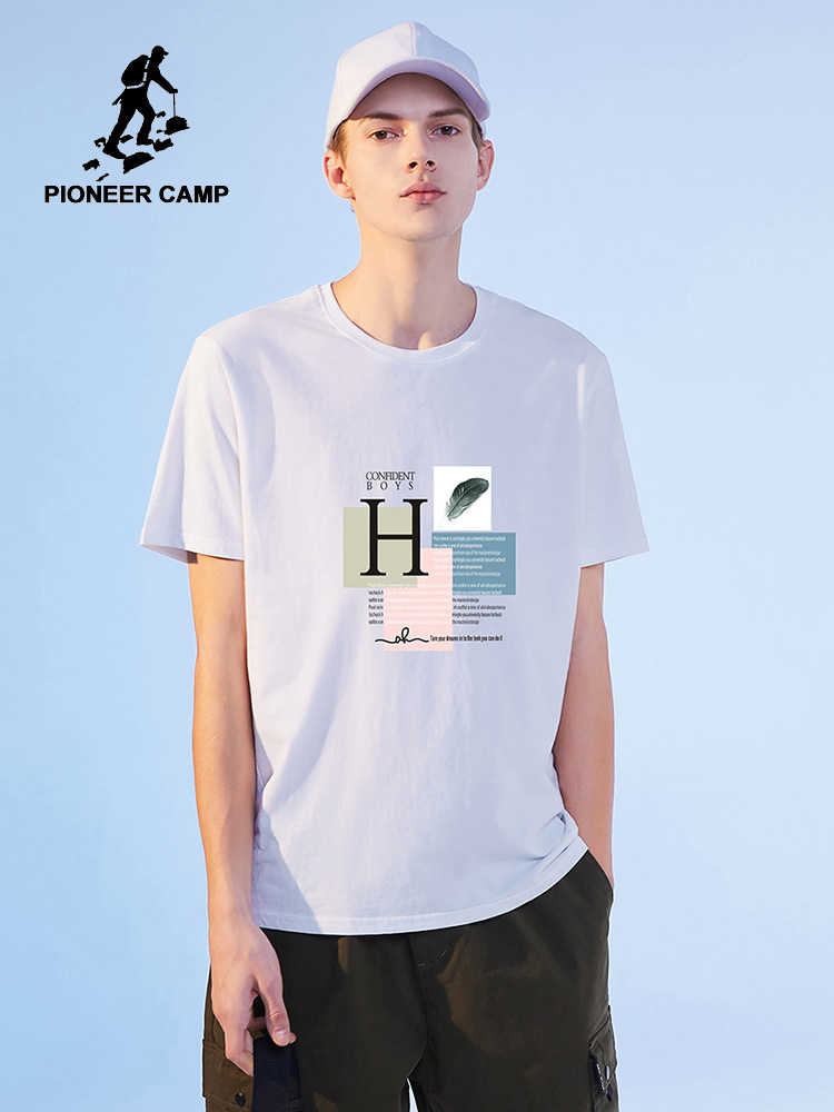 Pioneer Camp 2020 New Design T-shirt Men Summer Streetwear Hip Hop 100%cotton Letter Printed White Black Men's Clothe ADT0206009