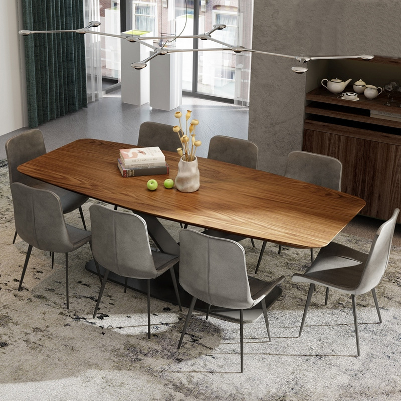2019 Fashional Design Recetangle Dining Table Furniture Wooden Top With Metal Base
