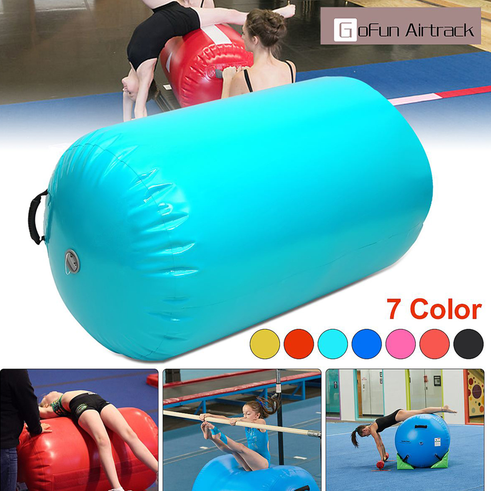 IHOME Air Track Cylinder 100x65/120x90cm Inflatable <font><b>Gymnastics</b></font> Exercise Tumbling Yogamat for <font><b>Kids</b></font> Training Gym Inverted Backflip image