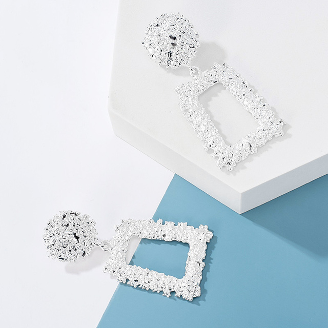 2020 Fashion Large Statement Drop Earrings Geometric Silver Color Jewelry 4