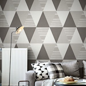 Image 2 - New Fashion Geometric Abstraction Wallpaper Roll Color Plaid Wall Paper PVC Waterproof Bedroom Living Room Wall