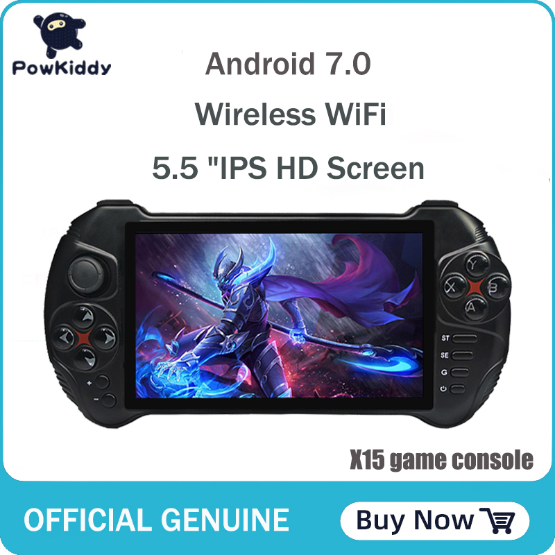 Powkiddy X15 Andriod Handheld Game Console 5.5 INCH 1280*720 Screen MTK8163 quad core 2G RAM 32G ROM Video Handheld Game Player image