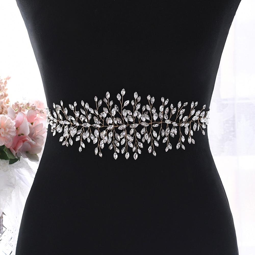 TRiXY SH237-G Golden Crystal Belts for Dresses Bridesmaid Dress Sash Bridal Wedding Sash Belt Sparkly Belt Gold Rhinestone Sash