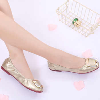 2020 Women Shoes Ballet Flats Woman Casual Boat Shoes Fashion Loafers Ladies Shine Leisure Party Wedding Microfiber Soft Bottom