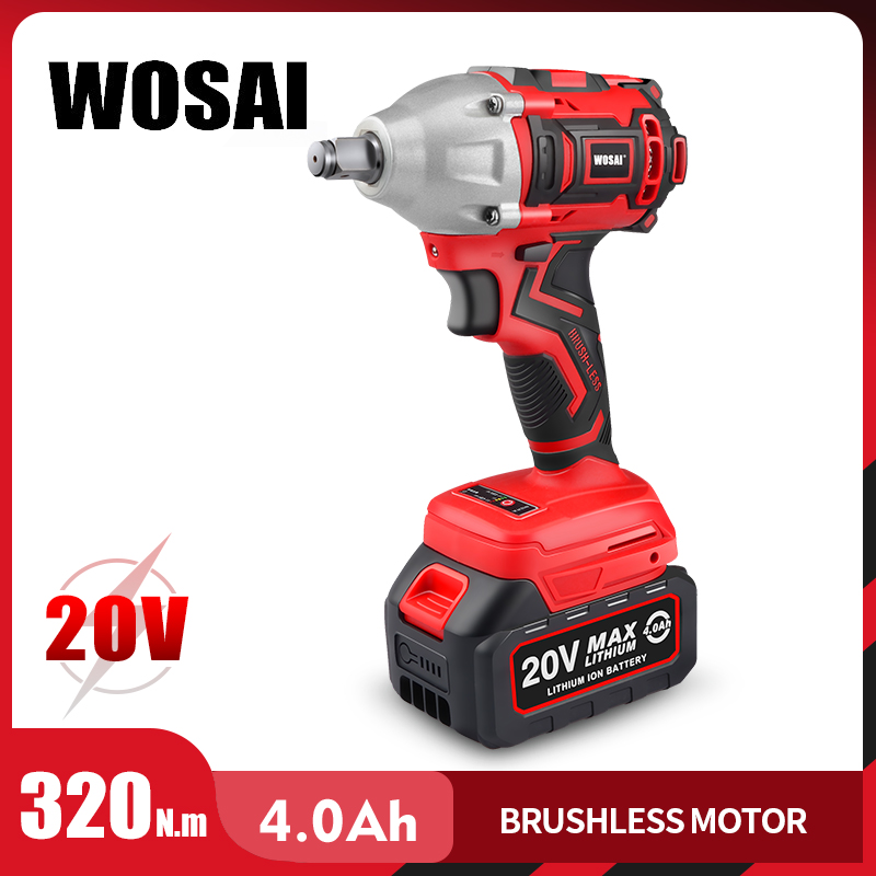 WOSAI 20V Brushless Electric Wrench Impact Wrench Socket Wrench 320N.m 4.0AH Li Battery Hand Drill Installation Power Tools(China)