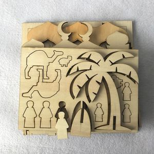 Image 3 - Drop Shipping Wooden Eid Mubarak Ramadan Home Party Ornament Decor Muslim Islamic Palace Puzzle Storage Box Gift DIY