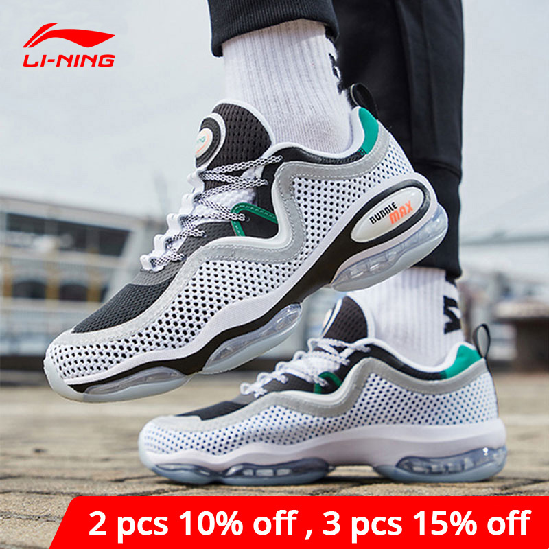 Li-Ning <font><b>Men</b></font> BUBBLE MAX II Lifestyle <font><b>Shoes</b></font> Air Cushion Retro Mesh <font><b>LiNing</b></font> li ning Sport <font><b>Shoes</b></font> Leisure Sneakers AGLP001 YXB263 image