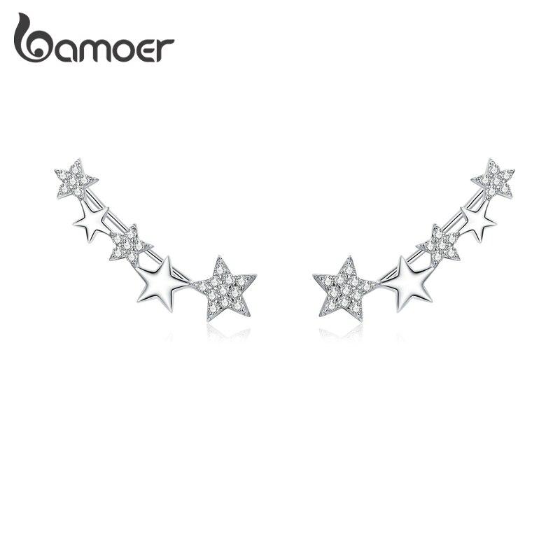Bamoer Shining Star Long Stud Earrings For Women 925 Sterling Silver Zirconia Statement Jewelry Boucles Brincos Bijoux BSE351